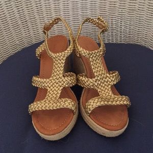 Kate Spade Braided Gold Leather Sandal Espadrilles